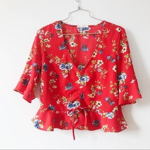 3/20$ Poison Ivy women red floral top bell sleeves